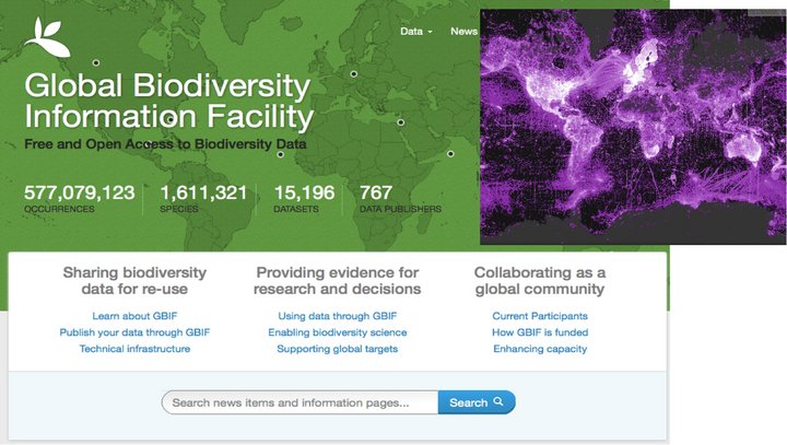 GBIF portal and density map of the 499,005,937 georeferenced occurrence records published through the GBIF network.