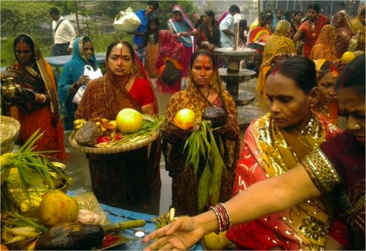 Offerings to the Sun God at Chhat Puja. Credit: Somashekhar BS