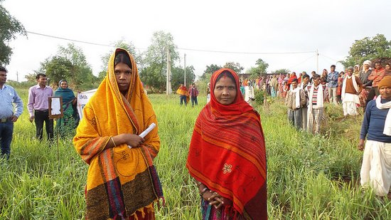 Farmer field day in a participatory evaluation plot for kodo millet in Dindori, Madhya Pradesh. Field visit to Mandla and Dindori in Madhya Pradesh to see work carried out by Action for Social Advancement (ASA) in the context of the IFAD-EU-CCAFS project, which is promoting underutilized species, particularly kodo and kutki (little) millet, for better livelihoods. Credit: Bioversity International/G. Meldrum