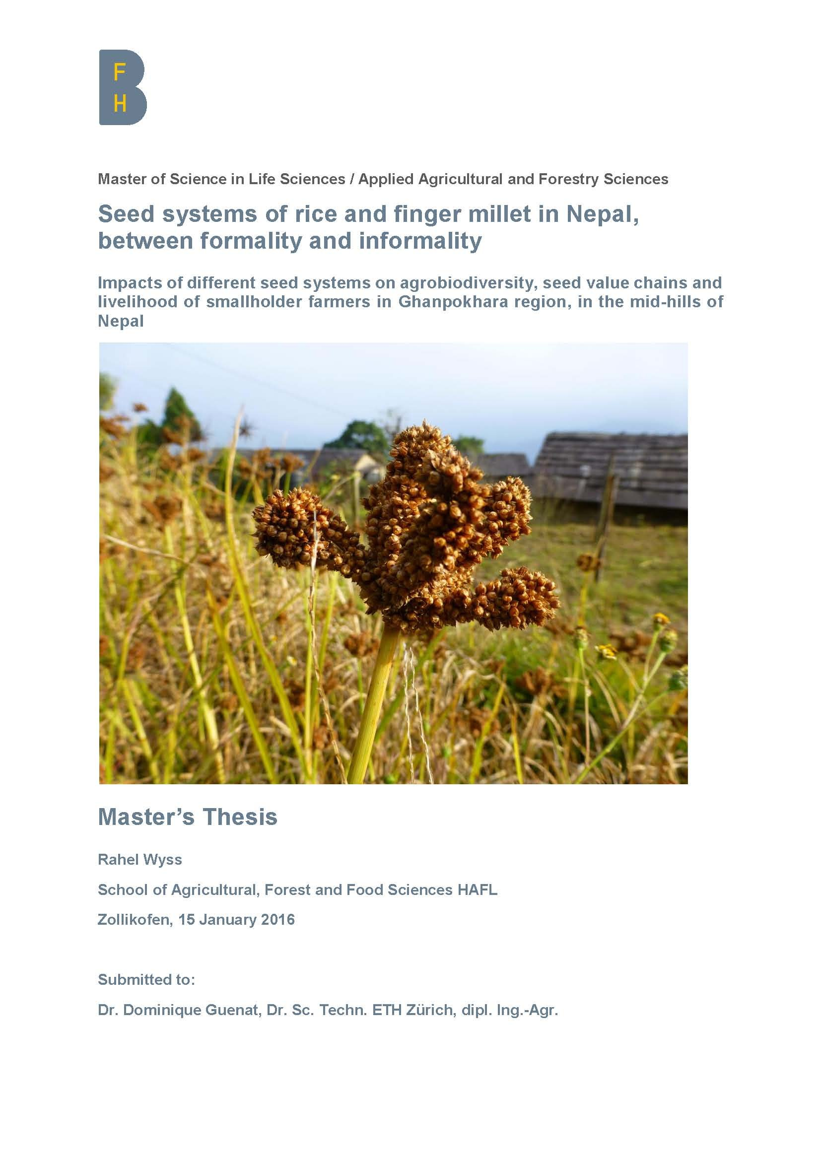 Seed systems of rice and finger millet in Nepal, between