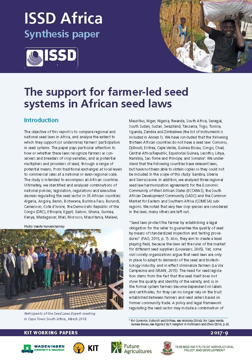 The support for farmer-led seed systems in African seed laws