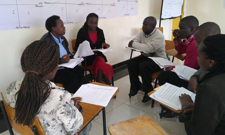 Francis Odhiambo, Research Assistant, Bioversity International, facilitating a training session for enumerators held in Nairobi August 2014, prior to the household survey in Vihiga. Credit: Bioversity International