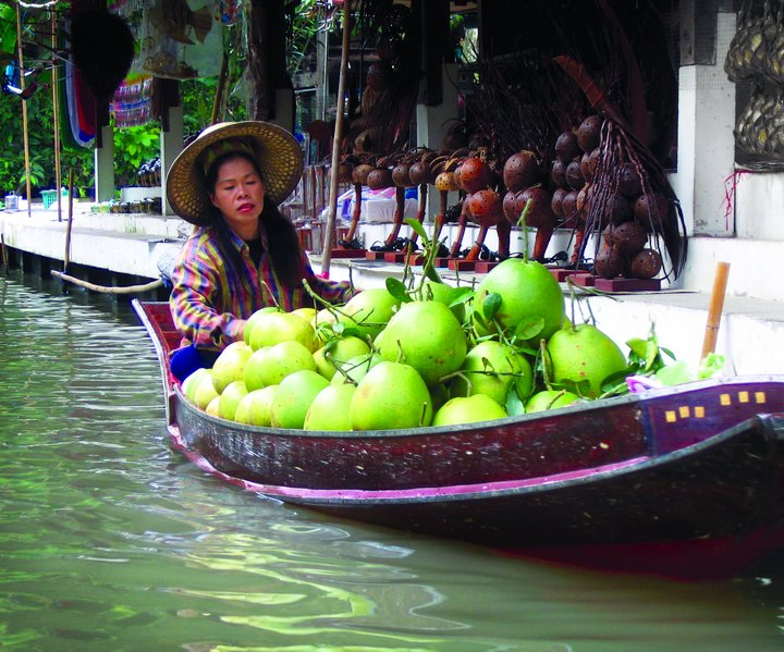 Transporting and selling coconuts at a floating market in Thailand. Credit: Bioversity International/B. Sthapit