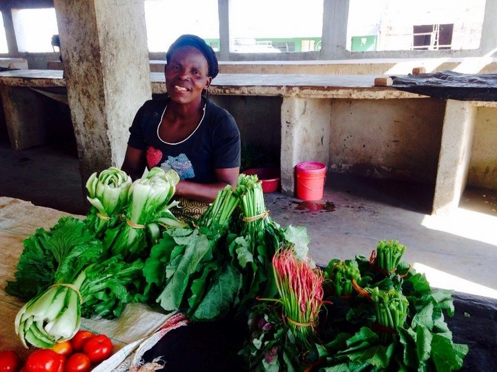 Woman selling varieties of dark green leafy vegetables at the market in Luwingu, Northern Province, Zambia. Credit: Bioversity International/M.Ahern