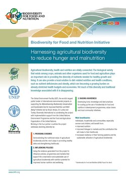 Harnessing agricultural biodiversity to reduce hunger and malnutrition - flyer