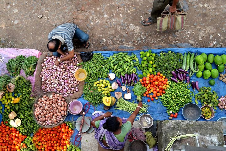 Women and biodiversity - Photo contest entry. In Western Bengal, 70% of people depend on agriculture. This woman and her family make a living by selling vegetables, which she collects from her husband's field and sells at the market. Credit: Krishnasis