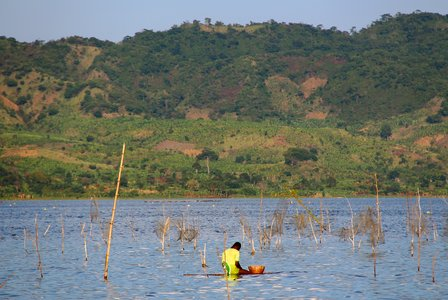 Fishing on traditional floating plank, Lake Bosumtwi, Ghana.  Credit: Bioversity International/C.Zanzanaini