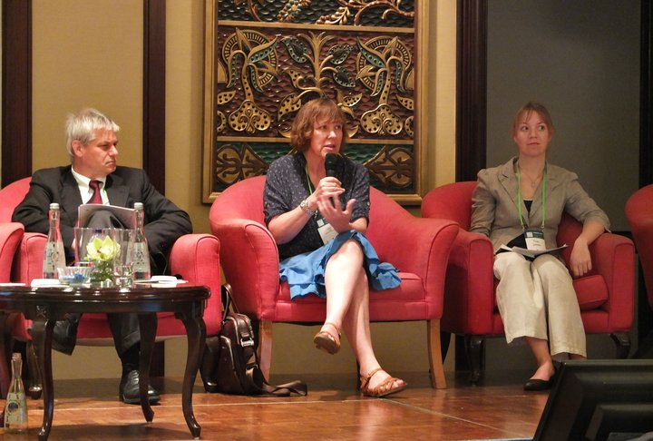Douglas McGuire, Judy Loo and Riina Jalonen at Forests Asia Summit that took place in Jakarta, Indonesia in May 2014.