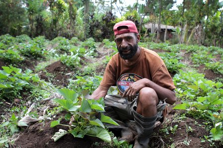 Farmer and a popular variety of sweet potato jokingly called 'I don't care', Papua New Guinea.  Credit: Bioversity International/P.Quek