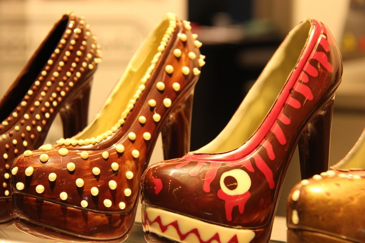 Chocolate shoes on display at the Salon du Chocolat 2017.  Credit: Bioversity International/S. Collins
