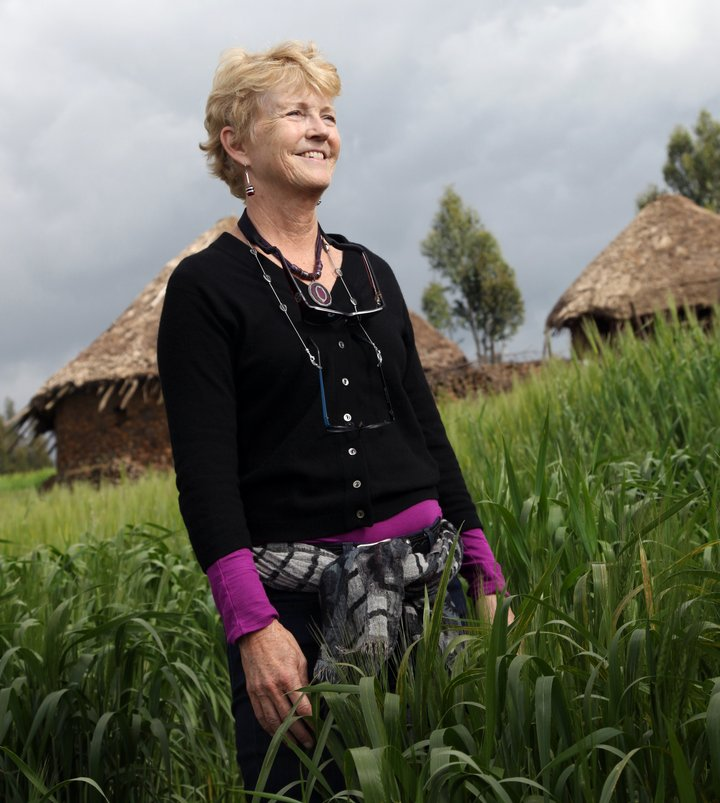 Ann Tutwiler at the Seeds for Needs wheat trials, Ethiopia. Credit: Bioversity International