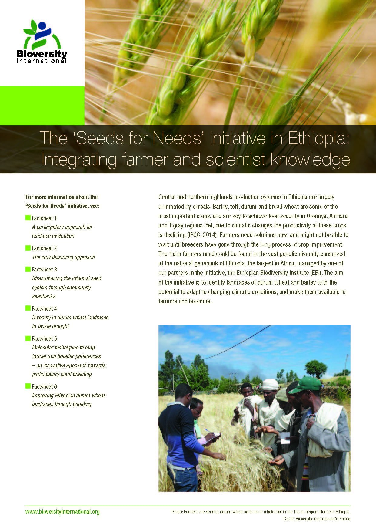 The Seeds for Needs Initiative in Ethiopia: integrating farmer and