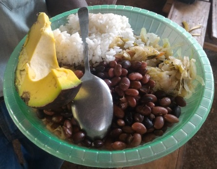 Balanced meal of a staple food (rice), protein-rich food (beans), vegetables (cabbage) and a fruit (orange, avacado). Shown during a training day on dietary diversity, Vihiga County, Kenya. Credit: Bioversity International/J. Boedecker
